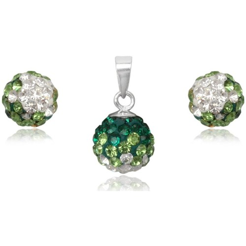 Watches Women Jewelerry sets Blue Pearls Green Crystal Pendant and Earrings Set and 925 Silver Multicolored