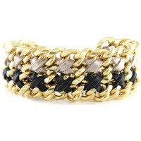Watches Women Bracelets Blue Pearls Ettika - Black and Silver Ribbons and Yellow Gold Bracelet Multicolored