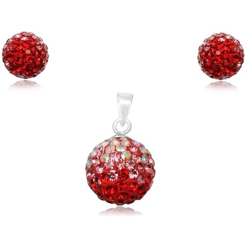 Watches Women Jewelerry sets Blue Pearls Red Crystal Pendant and Earrings Set and 925 Silver Multicolored