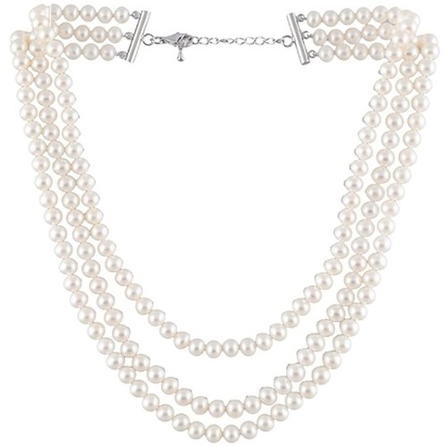 Watches Women Necklaces Blue Pearls White Freshwater Pearl 3 Rows Necklace and 925 Silver Multicolored