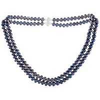 Watches Women Necklaces Blue Pearls Black Freshwater Pearl 2 rows Necklace and Silver Mounting Multicolored