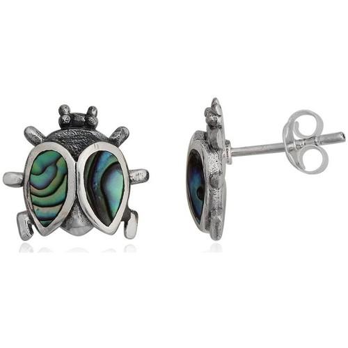 Watches Women Earrings Blue Pearls 925 Silver Abalon Ladybug Earrings Multicolored