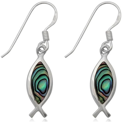 Watches Women Earrings Blue Pearls 925 Silver Fish Dangling Earrings and Abalone Multicolored