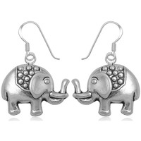 Watches Women Earrings Blue Pearls 925 Silver Elephant Dangling Earrings Multicolored