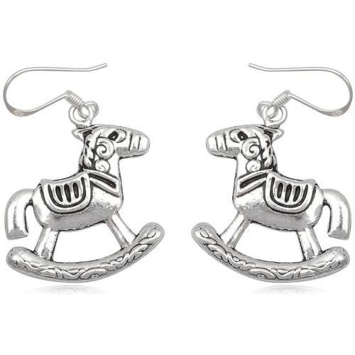 Watches Women Earrings Blue Pearls 925 Silver Rocking Horse Dangling Earrings Multicolored