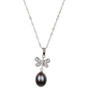 Watches Women Pendants Blue Pearls White or Black Freshwater Pearl Butterfly Pendant and 925 Silver Black