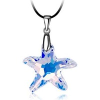 Watches Women Pendants Blue Pearls White Swarovski Elements Crystal Star Necklace Multicolored