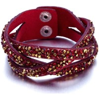 Watches Women Bracelets Blue Pearls Red and Golden Swarovski Crystal Elements and red leather Interl Multicolored