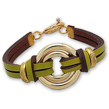 Watches Women Bracelets Blue Pearls Gold Double Circle Bracelet and Green Leather Multicolored