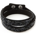 Blue Pearls Black Swarovski Crystal Elements and black leather Bracelet