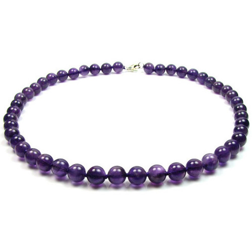 Watches Women Necklaces Blue Pearls Purple Amethyst Gemstones Pearls Women Necklace and Silver Clasp Multicolored