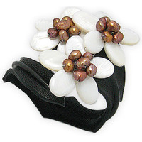 Watches Women Bracelets Blue Pearls White Pearls Flowers and Black Leather Bracelet Multicolored
