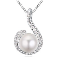Watches Women Pendants Blue Pearls White Pearl Pendant made with a White Crystal from Swarovski Multicolored