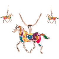 Watches Women Jewelerry sets Blue Pearls Multicolor Horse Pendant and Earrings Set Multicolored