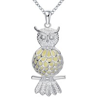 Watches Women Pendants Blue Pearls Fluorescent Owl Pendant Gold