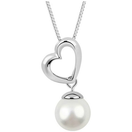 Watches Women Pendants Blue Pearls White Pearl Heart Necklace and Rhodium Plated Multicolored