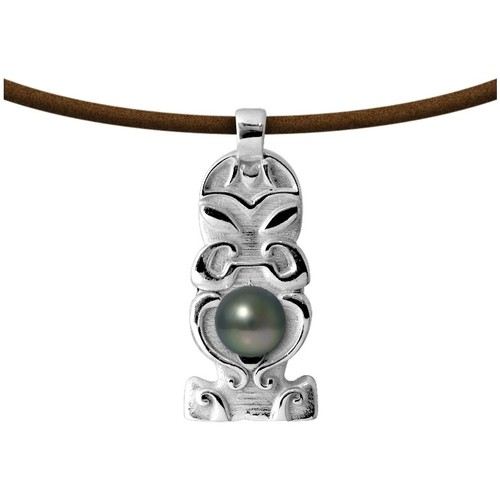 Watches Women Necklaces Blue Pearls Tahitian Pearl Totem Tribal Leather Man Necklace and 925 Sterlin Multicolored