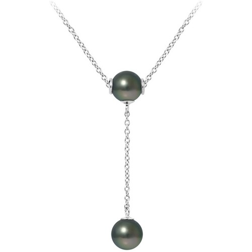 Watches Women Necklaces Blue Pearls 2 Tahitian Pearls and 925 Sterling Silver Woman Necklace Multicolored