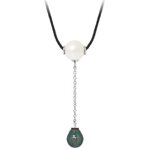 Watches Women Necklaces Blue Pearls Tahitian Pearl and White Freshwater Pearl, Black Cotton Woman Ne Multicolored