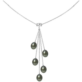 Watches Women Necklaces Blue Pearls 5 Tahitian Pearls and 925 Sterling Silver Woman Necklace Multicolored