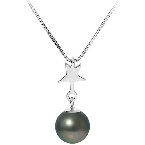 Watches Women Necklaces Blue Pearls Black Tahitian Pearl and Star Pendant Necklace and Sterling Silv Multicolored