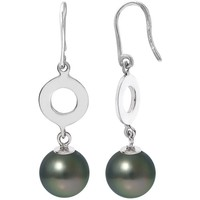 Watches Women Earrings Blue Pearls Black Tahitian Pearls Dangling Earrings and Silver 925/1000 Multicolored