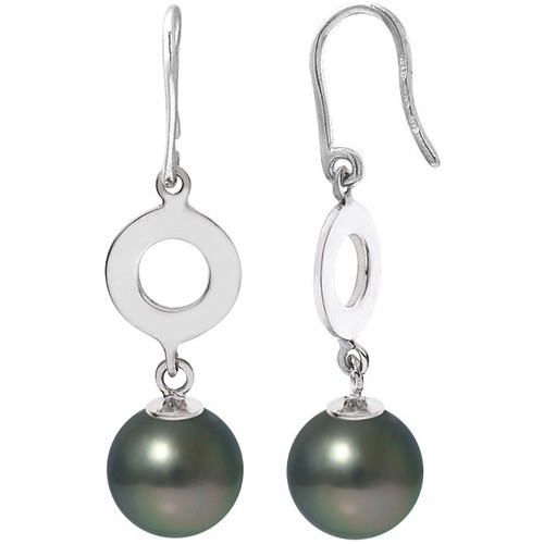 Watches Women Earrings Blue Pearls Black Tahitian Pearls Dangling Earrings and Silver 925/1000 Green