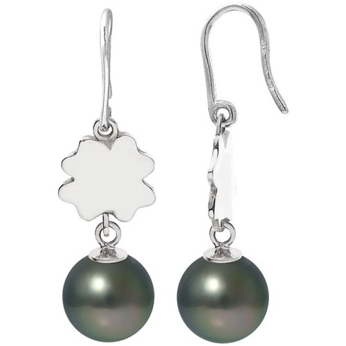Watches Women Earrings Blue Pearls Black Tahitian Pearls Clover Dangling Earrings and Silver 925/10 Multicolored