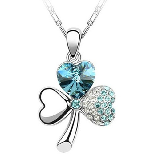 Watches Women Pendants Blue Pearls Clover Pendant made with a Clear Blue Crystal from Swarovski Blue