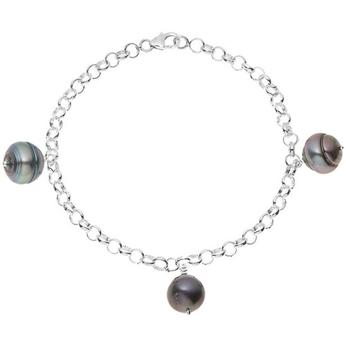 Watches Women Bracelets Blue Pearls 3 Tahitian Pearl Bracelet and 925 Sterling Silver Green