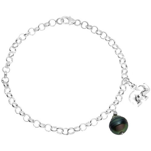 Watches Women Bracelets Blue Pearls Tahitian Pearl Elephant Bracelet and 925 Silver Multicolored