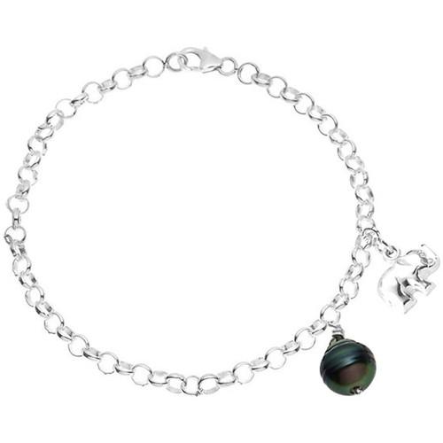 Watches Women Bracelets Blue Pearls Tahitian Pearl Elephant Bracelet and 925 Silver Green