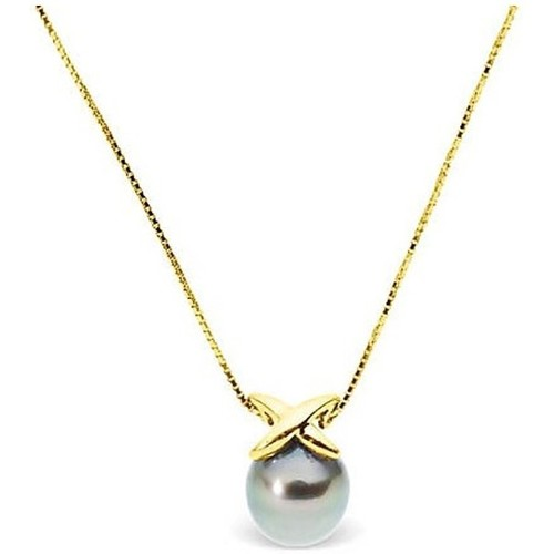Watches Women Necklaces Blue Pearls Black Tahitian Pearl Necklace and Yellow Gold 375/1000 Mother Of Pearl