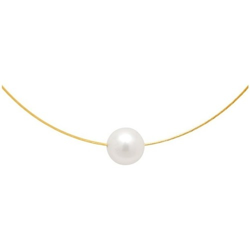 Watches Women Necklaces Blue Pearls White Freshwater Pearl Cable Necklace and Yellow Gold 750/1000 Multicolored