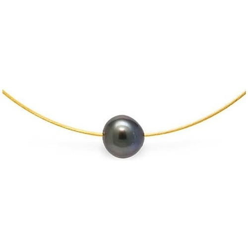Watches Women Necklaces Blue Pearls Tahitian Pearl Cable Necklace and Yellow Gold 750/1000 Multicolored