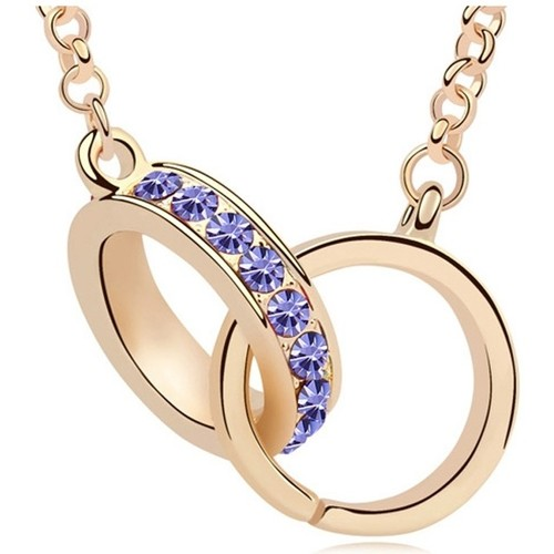 Watches Women Necklaces Blue Pearls Yellow Gold Plated Handcuffs Long Necklace with Purple Swarovski Multicolored