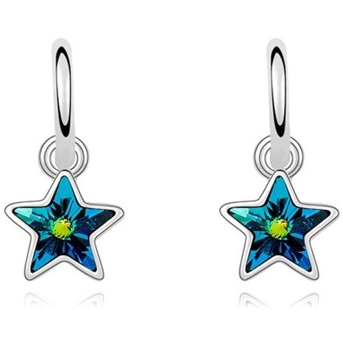 Watches Women Earrings Blue Pearls White Gold Plated Dangling Star Earrings with Turquoise Swarovsk Multicolored