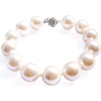 Watches Women Bracelets Blue Pearls White Freshwater Pearl Bracelet and Silver Flower Clasp Multicolored