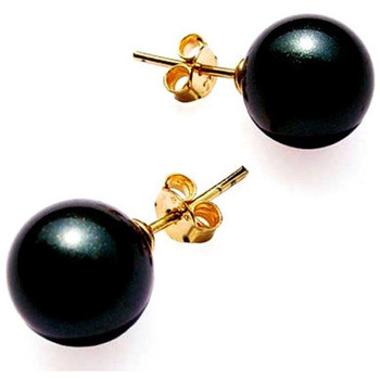 Watches Women Earrings Blue Pearls Black AAAA Freshwater Pearl Earrings and 14K yellow Gold plated Multicolored