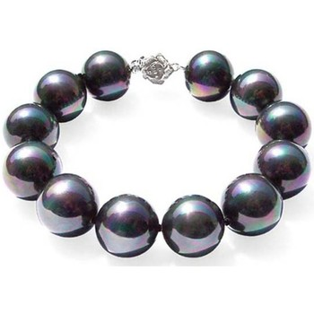 Watches Women Bracelets Blue Pearls Black Freshwater Pearl Bracelet and 925 Silver Flower Clasp Multicolored