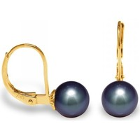 Watches Women Earrings Blue Pearls Black Freshwater Pearls Earrings and yellow gold 375/1000 Multicolored