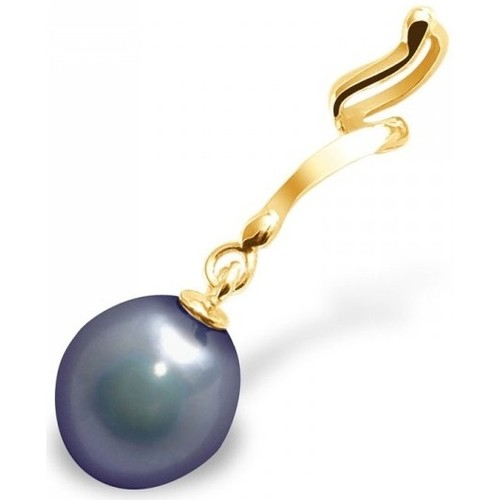 Watches Women Pendants Blue Pearls Black Freshwater Pearl Pendant and Yellow Gold 375/1000 Multicolored