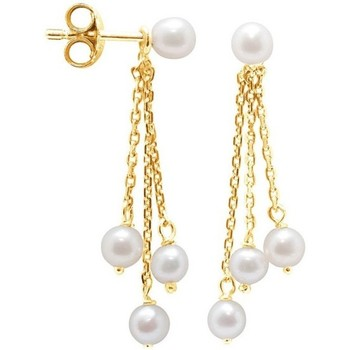 Watches Women Earrings Blue Pearls White Freshwater Pearls Dangling Earrings and yellow gold 750/10 Multicolored