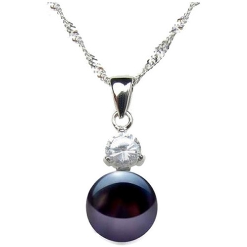Watches Women Pendants Blue Pearls Black Freshwater Pearl Cubic Zirconia Pendant and Silver 925 Multicolored