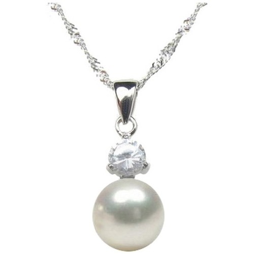 Watches Women Pendants Blue Pearls White Freshwater Pearl Cubic Zirconia Pendant and Silver Multicolored