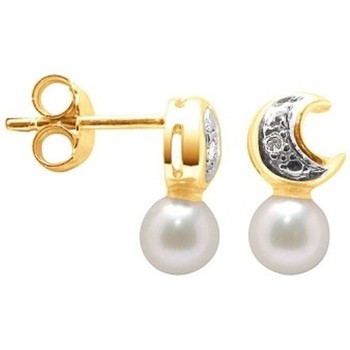 Watches Women Earrings Blue Pearls White Freshwater Pearl Earrings and yellow gold 7501000 Multicolored