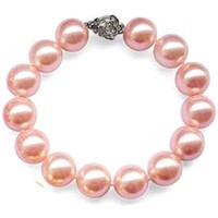 Watches Women Bracelets Blue Pearls Pink Freshwater Pearl Bracelet and Silver Fower Clasp Multicolored