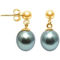 Watches Women Earrings Blue Pearls Tahitian Pearl Earrings and yellow gold 750/1000 Multicolored