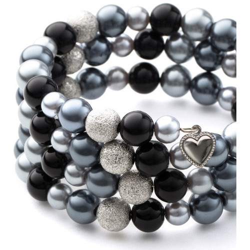Watches Women Bracelets Blue Pearls Black Pearls and Rhodium Plated 3 Rows Bracelet Multicolored