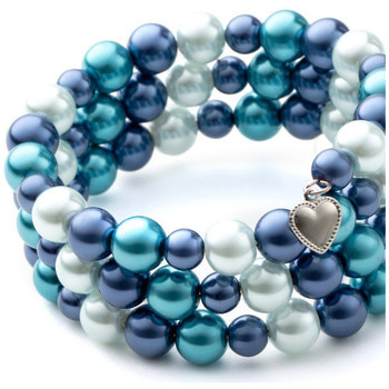 Watches Women Bracelets Blue Pearls and Rhodium Plated 3 Rows Bracelet Multicolored